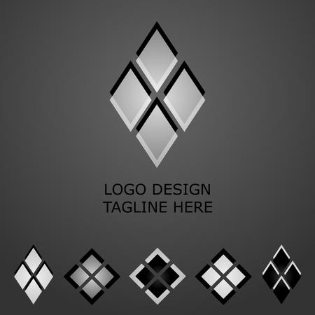 3d black and white logo on gray background