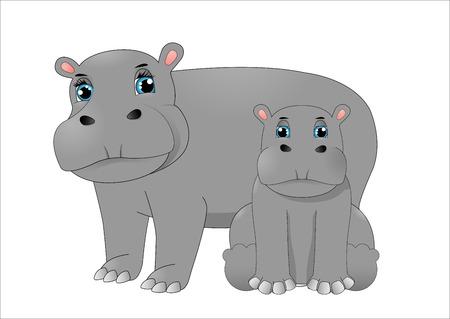 Madre hipopótamo y bebé hipopótamo