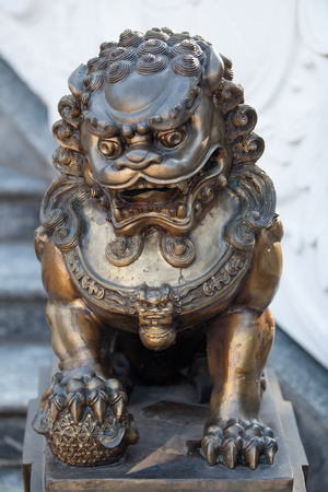 COTIA, SPBRAZIL: JUNE 4TH, 2015 - Buddhist temple stairway dragon statue
