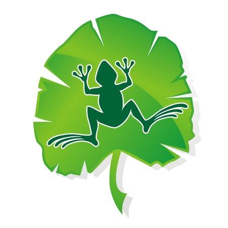 green_frog_leaf_logo Stock Vector - 17718728