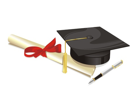traditional hat with parchment university diploma and fountain pen Vector