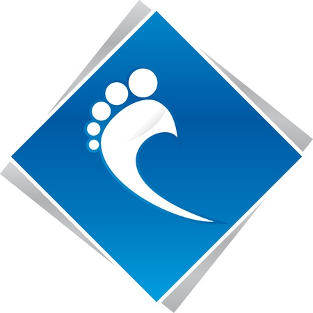 reflexology: podiatrist foot blue logo for business company