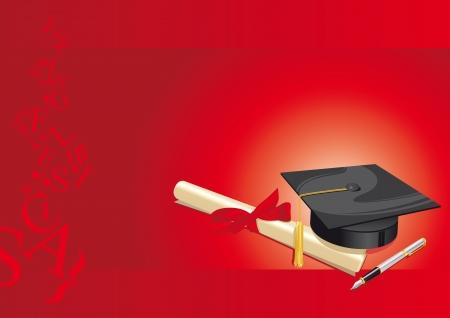 인식: 빨간색 배경에 양피지 대학 졸업장과 만년필 전통 모자