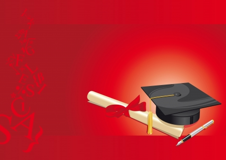 congratulations: traditional hat with parchment university diploma and fountain pen on a red background