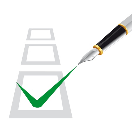 voted: multiple choice test with a pen that writes in the checked box Illustration