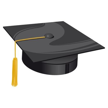 black hat: sombrero tradicional universidad negro con lazo de oro