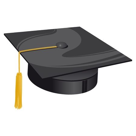 graduated: traditional university black hat with golden bow Illustration