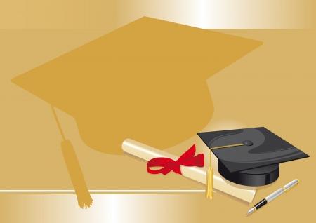 graduados: sombrero tradicional con diploma universitario pergamino y pluma en un fondo de oro Vectores