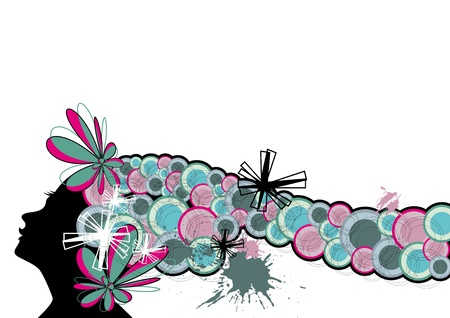 women's hair in waves circles of colors Stock Vector - 17882329