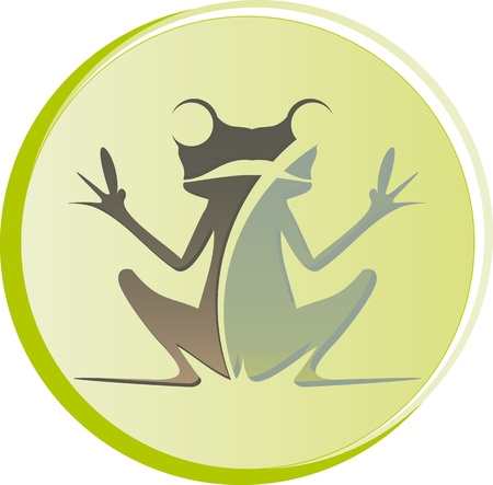 logo frog sitting with open hands Stock Vector - 17882327