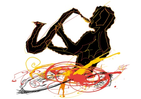 man playing the sax lines excited by color Stock Vector - 17882366