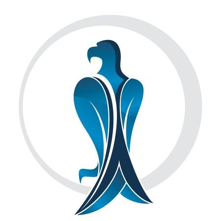 halcones: águila azul en un círculo vector