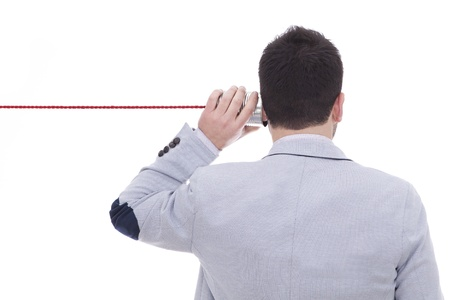 deficits: Man talking on a white background