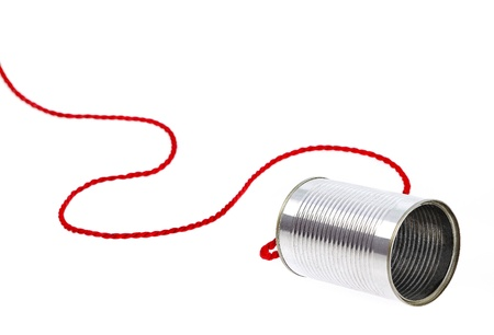 Can telephone on white Stock Photo - 17986410