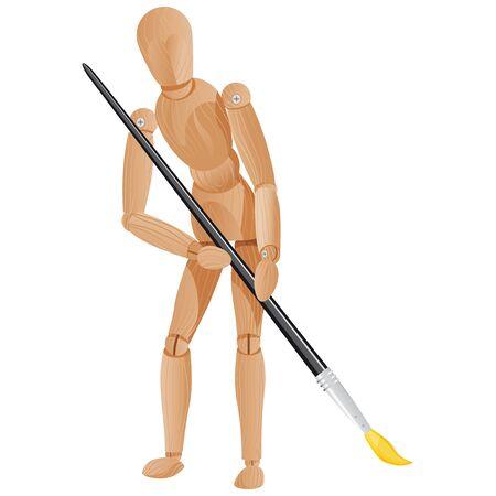 marioneta de madera: pintura de figura de madera con el cepillo aislado en un fondo blanco Vectores
