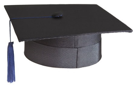 mortarboard on white background photo
