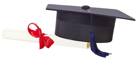 mortarboard and parchment certificate isolated on white background photo