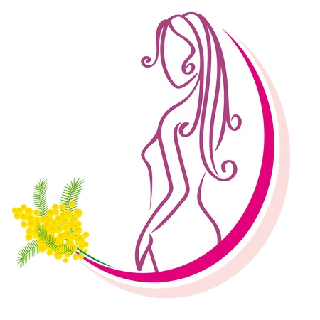 stylized woman  with mimosa on  a white background