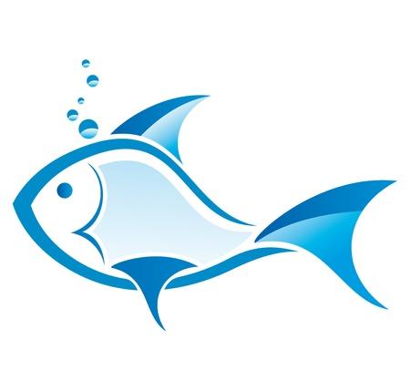 canotaje: dise�o estilizado pescado azul sobre un fondo blanco