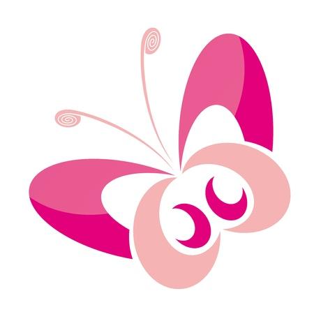 papillon rose: joli papillon rose sur un fond blanc avec des reflets