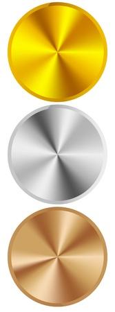 silver circle: anelli in metallo oro argento e bronzo Vettoriali
