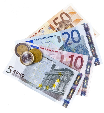 stock quotations: euro coins and banknotes Stock Photo