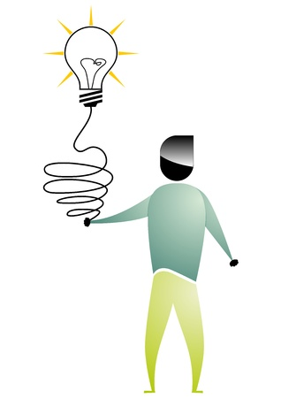 intuition: business man cartoon  with bulb connected to the hand Illustration