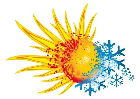 logo warm en koud met een explosie van vuur en ijs