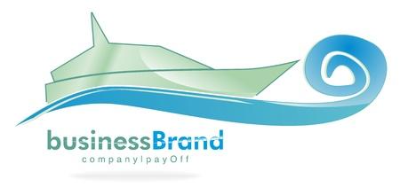 sailboats: logo yacht under way Illustration