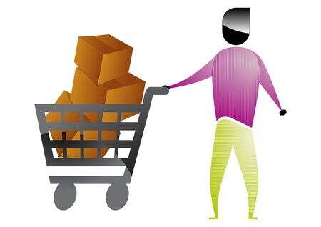 shopper man with a cart full of boxes Vector