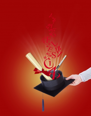 thesis: degree with parchment fountain pen and letters coming out of the hat on a red background