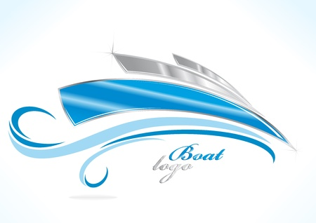3d boat: business boat logo with blue waves