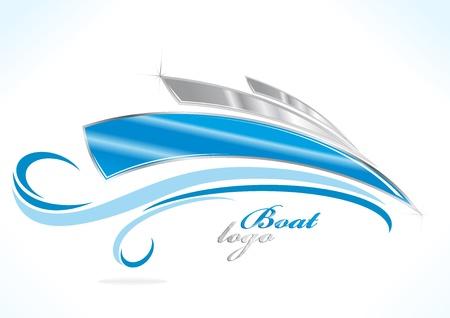 logotipo turismo: empresa logo barco con olas azules Vectores