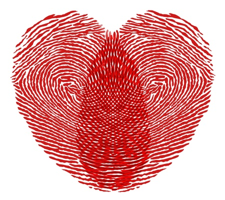 heart fingerprint on a white background photo