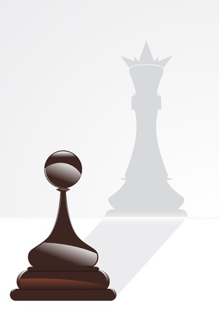 king reflected in the shadow of the pawn Vector