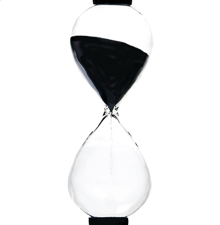 digital clock: hourglass, sandglass, sand timer, sand clock isolated on a white background
