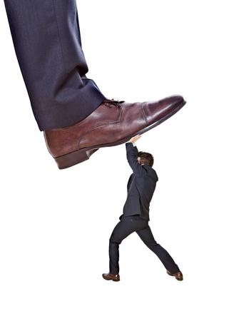 acoso laboral: trabajador defiende sus propios derechos Foto de archivo