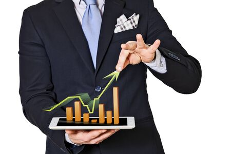 decreased: business man which extracts bar graphs and arrow Stock Photo