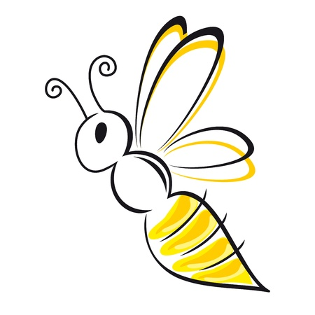 bee stylized symbol black and yellow Illustration