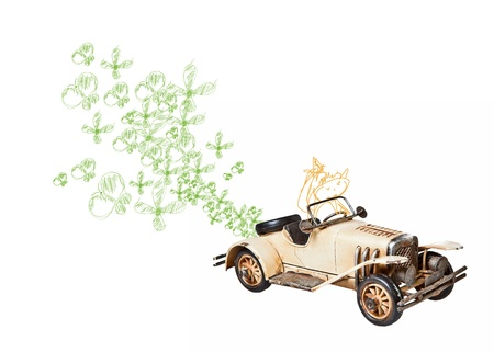 floreal: ecological car with vector butterfly and floreal Stock Photo