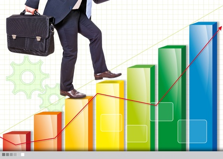 businessman on a chart rising company photo