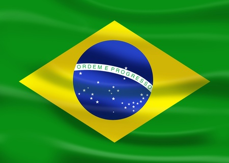 illustration flag of brazil with fabric effect Standard-Bild