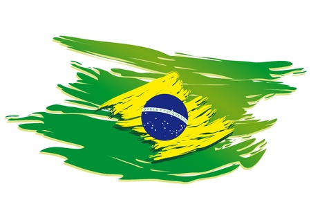 brazil flag stylized on a white background paint with a brush