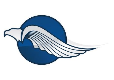 aguila americana: azul águila símbolo en un fondo blanco