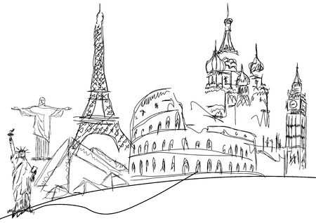 famous monuments on white background Illustration