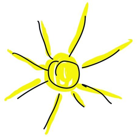solarium: hot sun on a white background Illustration