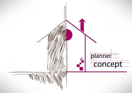 surveyor: concepto planificador con apartamento Vectores