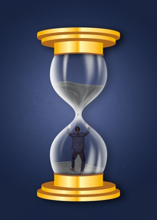 sand trap: man trapped in an hourglass