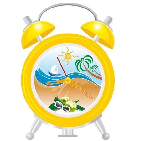 alarm clock with sea landscape Stock Vector - 19372138
