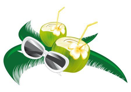 la leche fresca de coco una hoja de palma verde Ilustración de vector